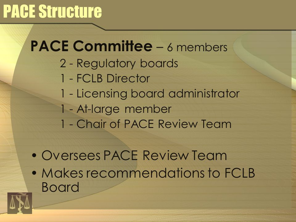 PACE Committee – 6 members 2 - Regulatory boards 1 - FCLB Director 1 - Licensing board administrator 1 - At-large member 1 - Chair of PACE Review Team Oversees PACE Review Team Makes recommendations to FCLB Board PACE Structure