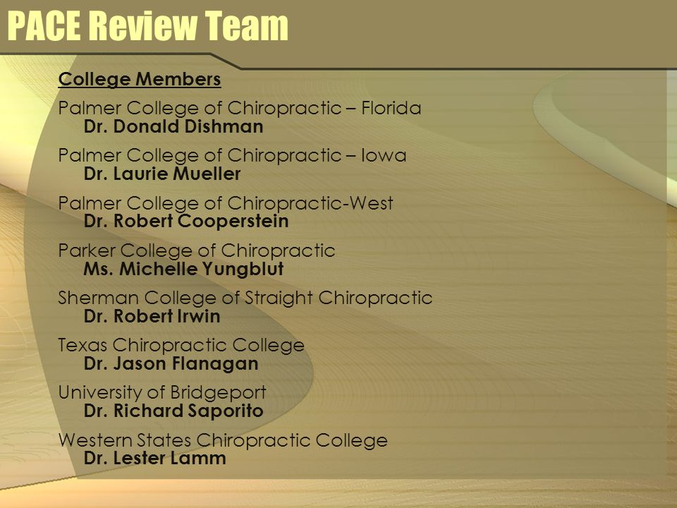 PACE Review Team College Members Palmer College of Chiropractic – Florida Dr.