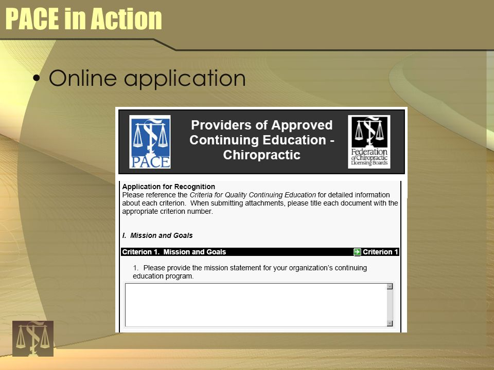 PACE in Action Online application