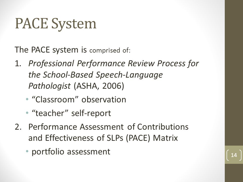 PACE System The PACE system is comprised of: 1.Professional Performance Review Process for the School-Based Speech-Language Pathologist (ASHA, 2006) Classroom observation teacher self-report 2.Performance Assessment of Contributions and Effectiveness of SLPs (PACE) Matrix portfolio assessment 14