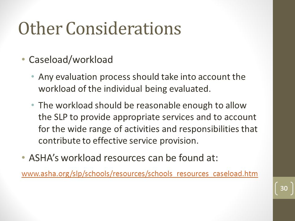 Other Considerations Caseload/workload Any evaluation process should take into account the workload of the individual being evaluated.