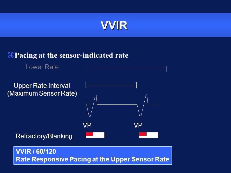 VVIR VP Refractory/Blanking Lower Rate Upper Rate Interval (Maximum Sensor Rate) VVIR / 60/120 Rate Responsive Pacing at the Upper Sensor Rate zPacing