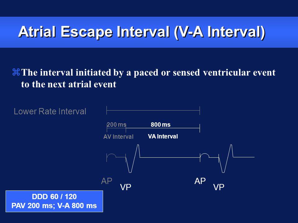 Lower Rate Interval AP VP AP VP AV Interval VA Interval Atrial Escape Interval (V-A Interval) zThe interval initiated by a paced or sensed ventricular