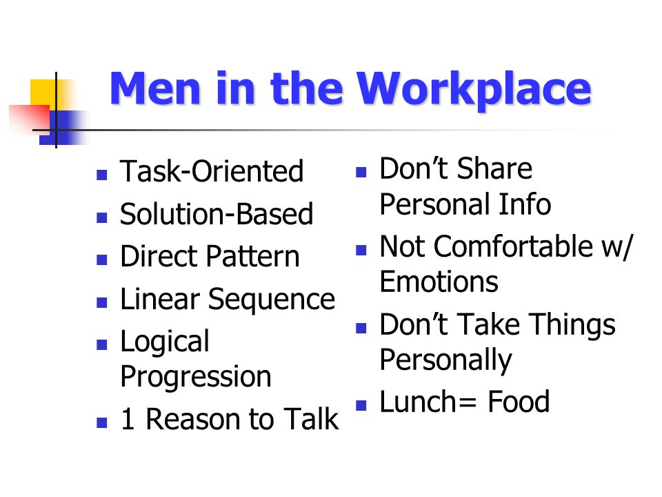 Men in the Workplace Task-Oriented Solution-Based Direct Pattern Linear Sequence Logical Progression 1 Reason to Talk Don't Share Personal Info Not Comfortable w/ Emotions Don't Take Things Personally Lunch= Food