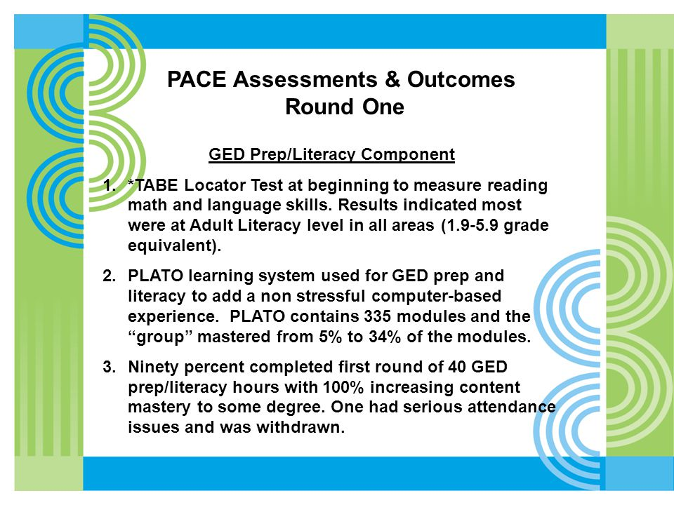 GED Prep/Literacy Component 1.*TABE Locator Test at beginning to measure reading math and language skills. Results indicated most were at Adult Litera