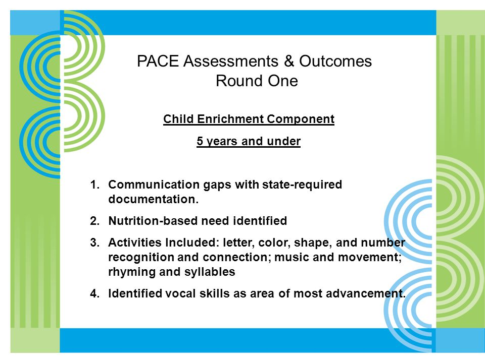 PACE Assessments & Outcomes Round One Child Enrichment Component 5 years and under 1.Communication gaps with state-required documentation. 2.Nutrition
