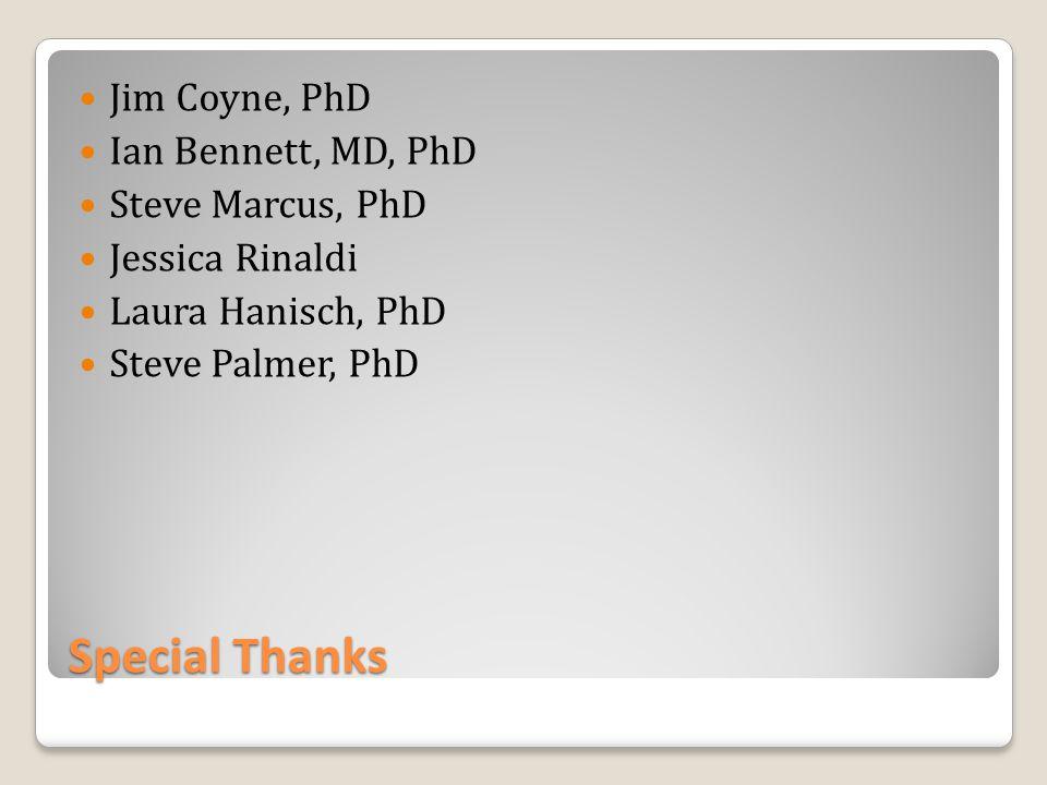 Special Thanks Jim Coyne, PhD Ian Bennett, MD, PhD Steve Marcus, PhD Jessica Rinaldi Laura Hanisch, PhD Steve Palmer, PhD