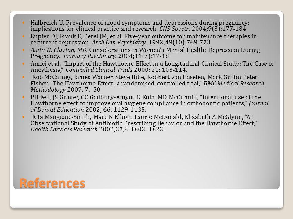 References Halbreich U.