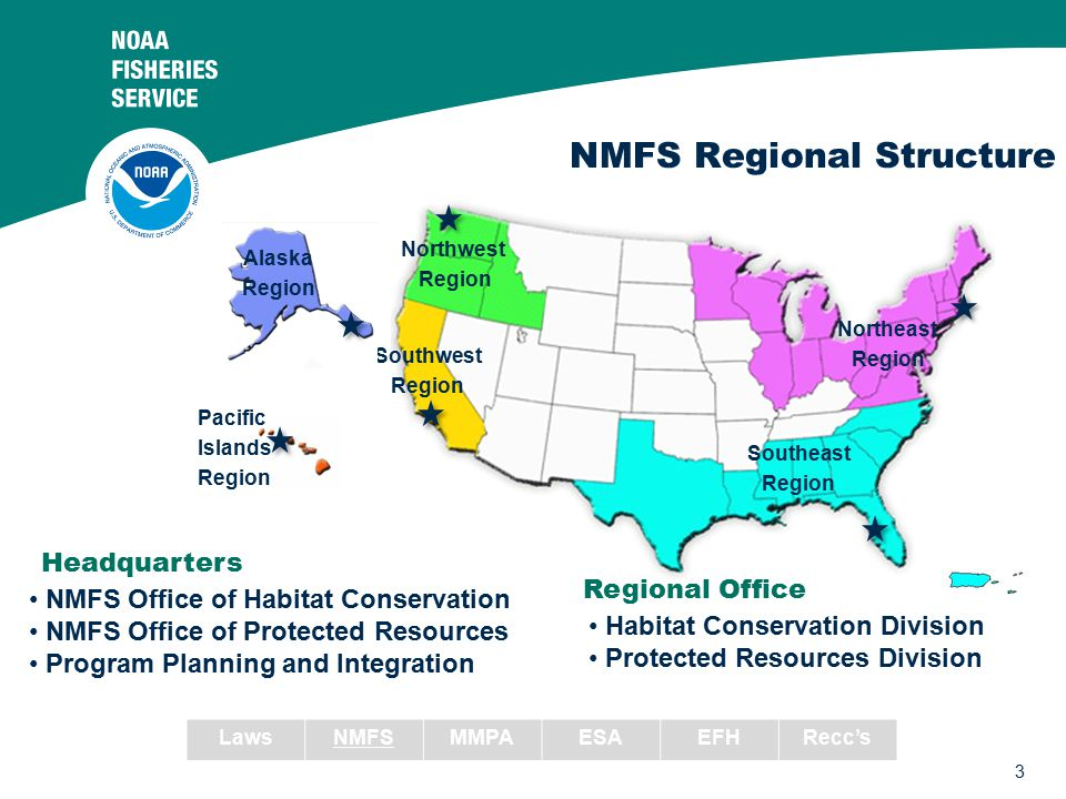 3 NMFS Regional Structure Southeast Region Southwest Region Northeast Region Northwest Region Pacific Islands Region Alaska Region Regional Office Hab