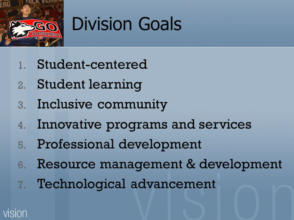 Division Goals 1. Student-centered 2. Student learning 3.