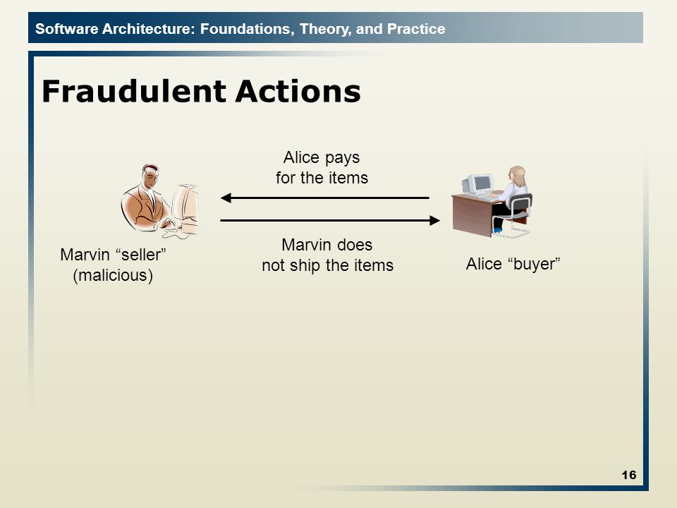 Software Architecture: Foundations, Theory, and Practice Fraudulent Actions 16 Alice buyer Alice pays for the items Marvin seller (malicious) Marvin does not ship the items
