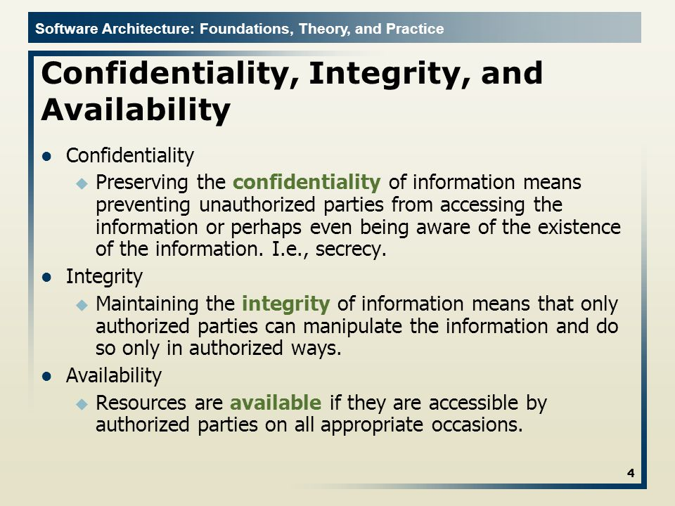Software Architecture: Foundations, Theory, and Practice Impersonation 15 Bob Alice Mallory (malicious) I am Bob Bob is reliable and everyone has a good opinion about Bob