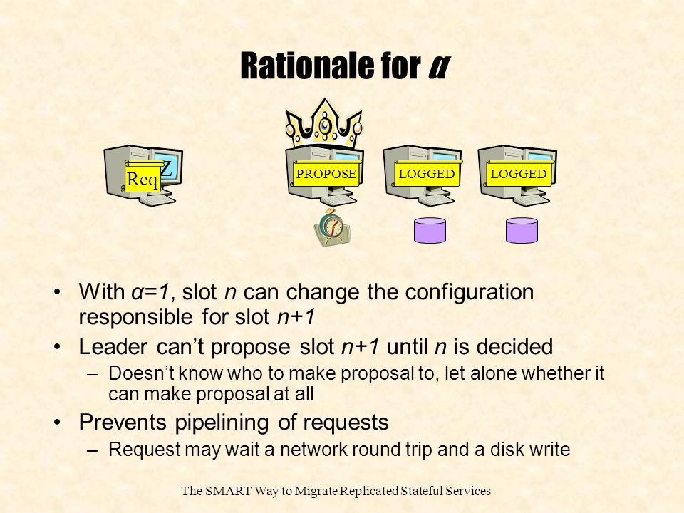 The SMART Way to Migrate Replicated Stateful Services Rationale for α With α=1, slot n can change the configuration responsible for slot n+1 Leader can't propose slot n+1 until n is decided –Doesn't know who to make proposal to, let alone whether it can make proposal at all Prevents pipelining of requests –Request may wait a network round trip and a disk write B A CZ Req PROPOSE LOGGED
