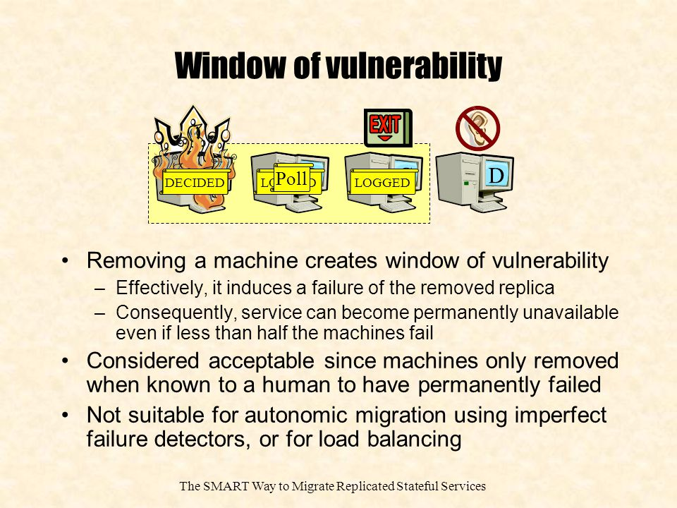 The SMART Way to Migrate Replicated Stateful Services Window of vulnerability Removing a machine creates window of vulnerability –Effectively, it induces a failure of the removed replica –Consequently, service can become permanently unavailable even if less than half the machines fail Considered acceptable since machines only removed when known to a human to have permanently failed Not suitable for autonomic migration using imperfect failure detectors, or for load balancing B A CD DECIDEDPROPOSE DECIDEDLOGGED Poll