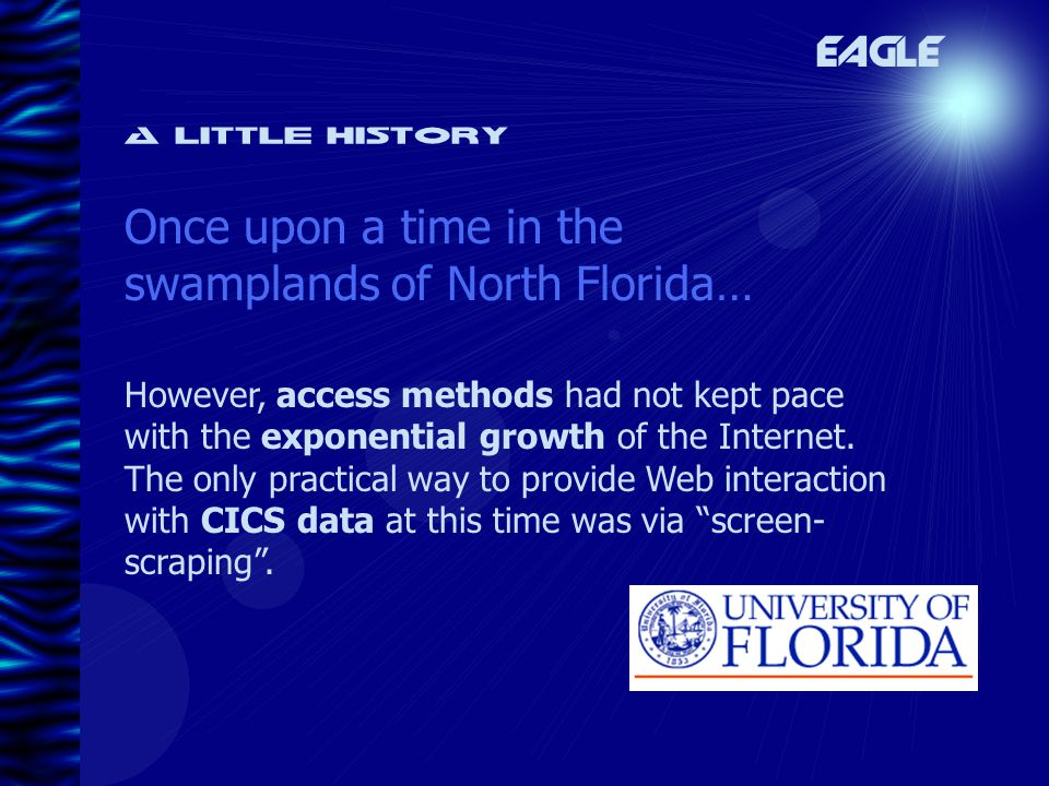 A little history Once upon a time in the swamplands of North Florida… EAGLE However, access methods had not kept pace with the exponential growth of the Internet.