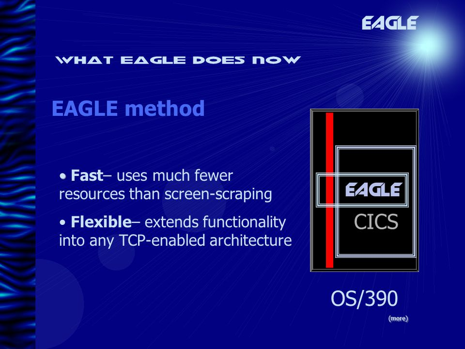 What eagle does now EAGLE method EAGLE OS/390 Fast– uses much fewer resources than screen-scraping Flexible– extends functionality into any TCP-enabled architecture (more) EAGLE CICS