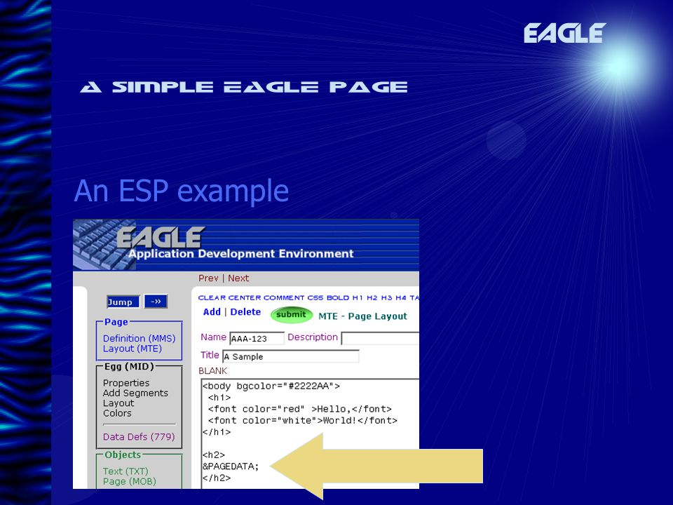 A simple EAGLE page An ESP example EAGLE