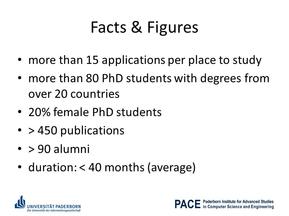 Facts & Figures more than 15 applications per place to study more than 80 PhD students with degrees from over 20 countries 20% female PhD students > 450 publications > 90 alumni duration: < 40 months (average)