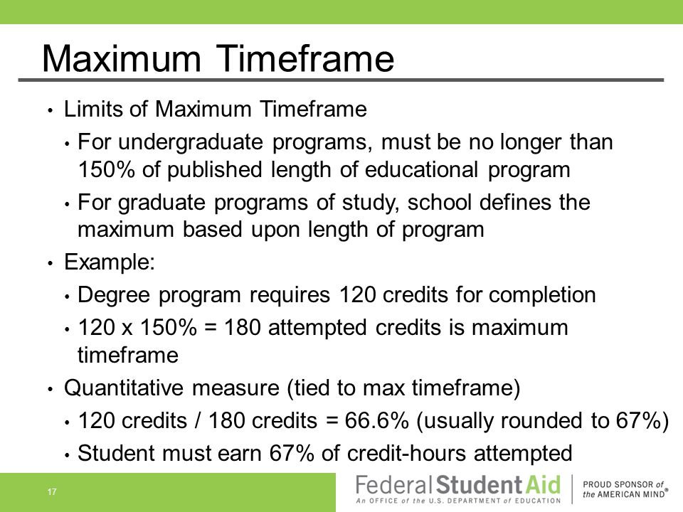 Maximum Timeframe Limits of Maximum Timeframe For undergraduate programs, must be no longer than 150% of published length of educational program For g
