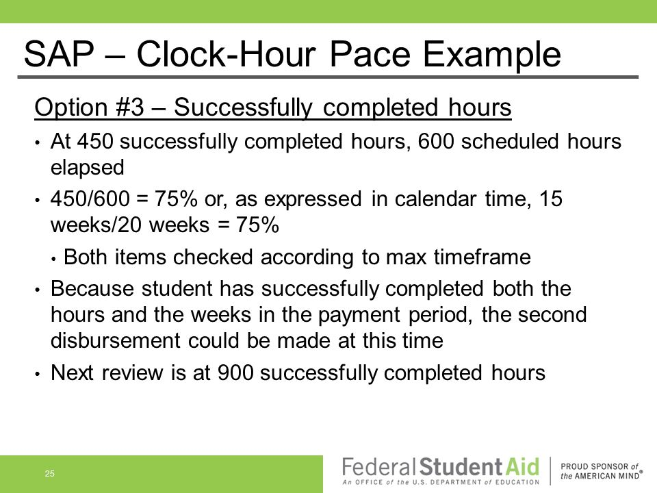 Option #3 – Successfully completed hours At 450 successfully completed hours, 600 scheduled hours elapsed 450/600 = 75% or, as expressed in calendar t