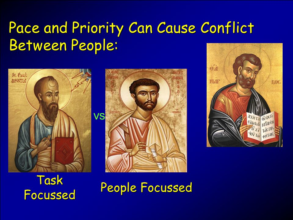 Pace and Priority Can Cause Conflict Between People: Task Focussed People Focussed vs