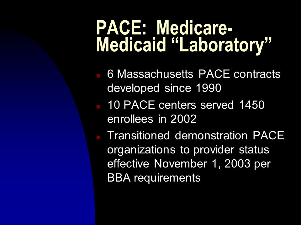 PACE: Medicare- Medicaid Laboratory n 6 Massachusetts PACE contracts developed since 1990 n 10 PACE centers served 1450 enrollees in 2002 n Transitioned demonstration PACE organizations to provider status effective November 1, 2003 per BBA requirements