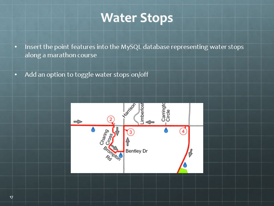 Water Stops Add an option to toggle water stops on/off Insert the point features into the MySQL database representing water stops along a marathon course 17