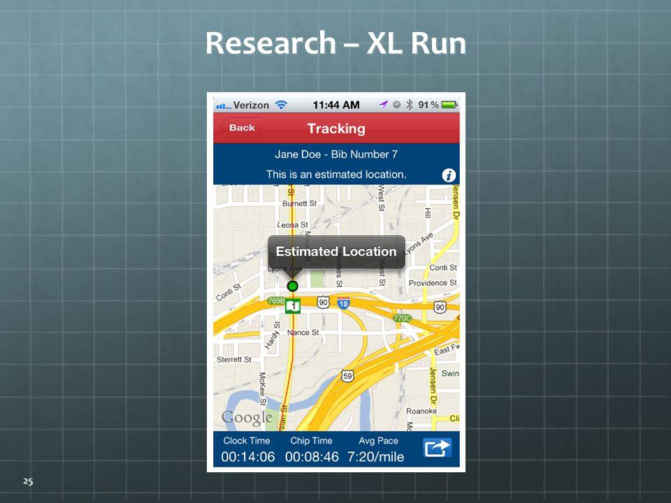 Research – XL Run 25