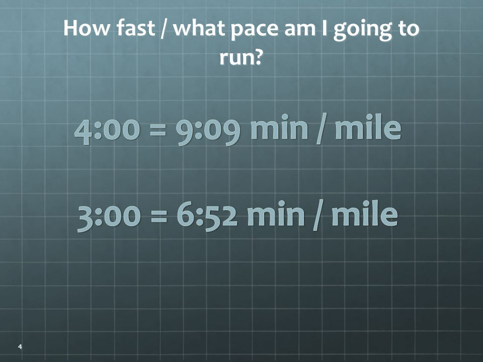 How fast / what pace am I going to run 4