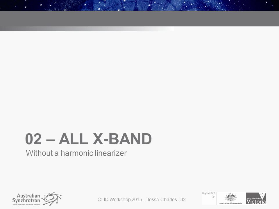 02 – ALL X-BAND Without a harmonic linearizer CLIC Workshop 2015 – Tessa Charles - 32