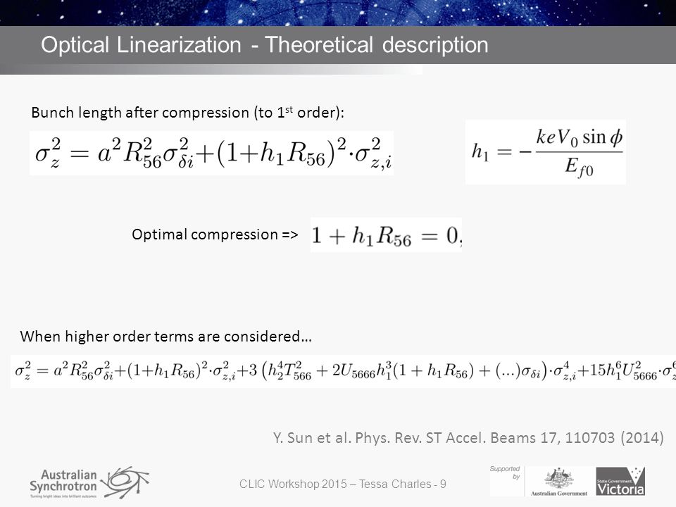 Optical Linearization - Theoretical description Optimal compression => When higher order terms are considered… Bunch length after compression (to 1 st