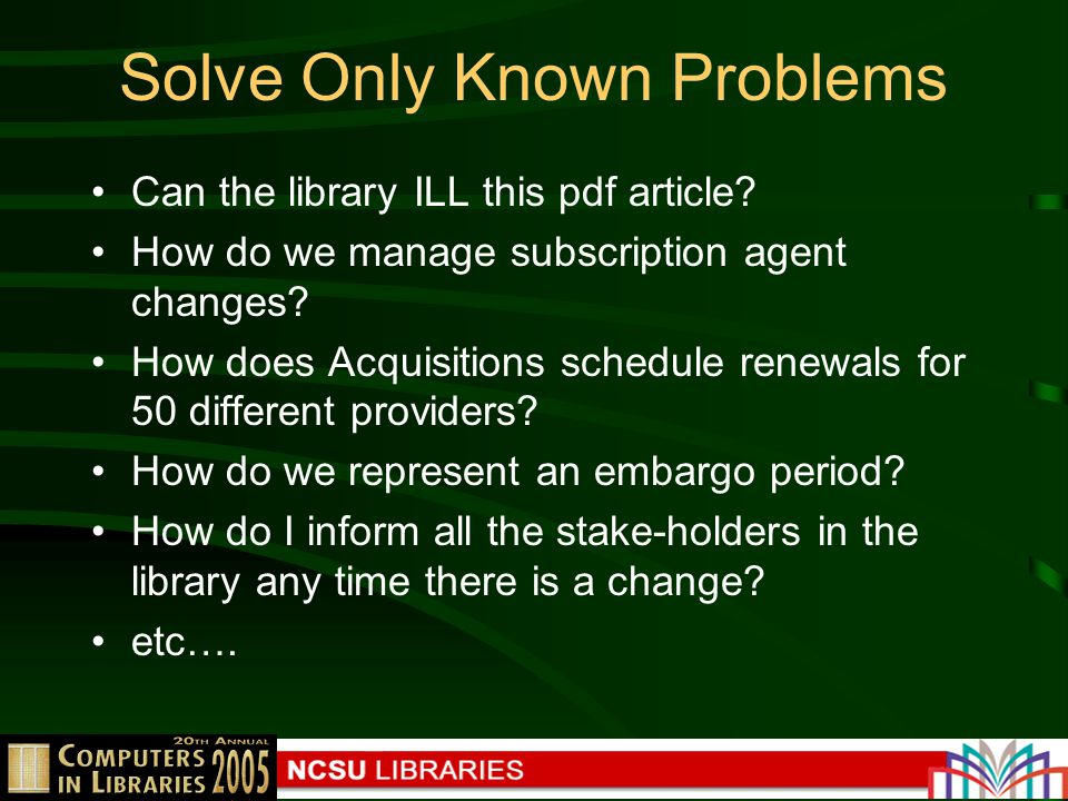 Solve Only Known Problems Can the library ILL this pdf article.