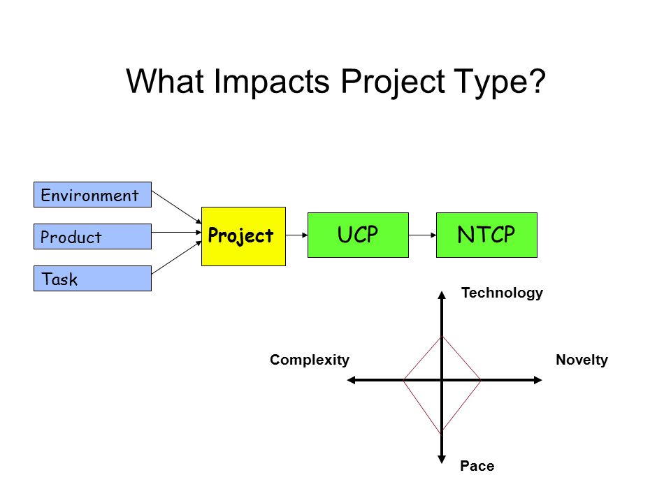 What Impacts Project Type? Environment Product Task Project UCPNTCP Novelty Pace Complexity Technology