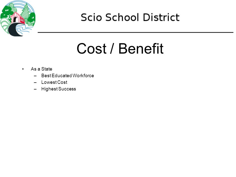 Cost / Benefit As a State –Best Educated Workforce –Lowest Cost –Highest Success
