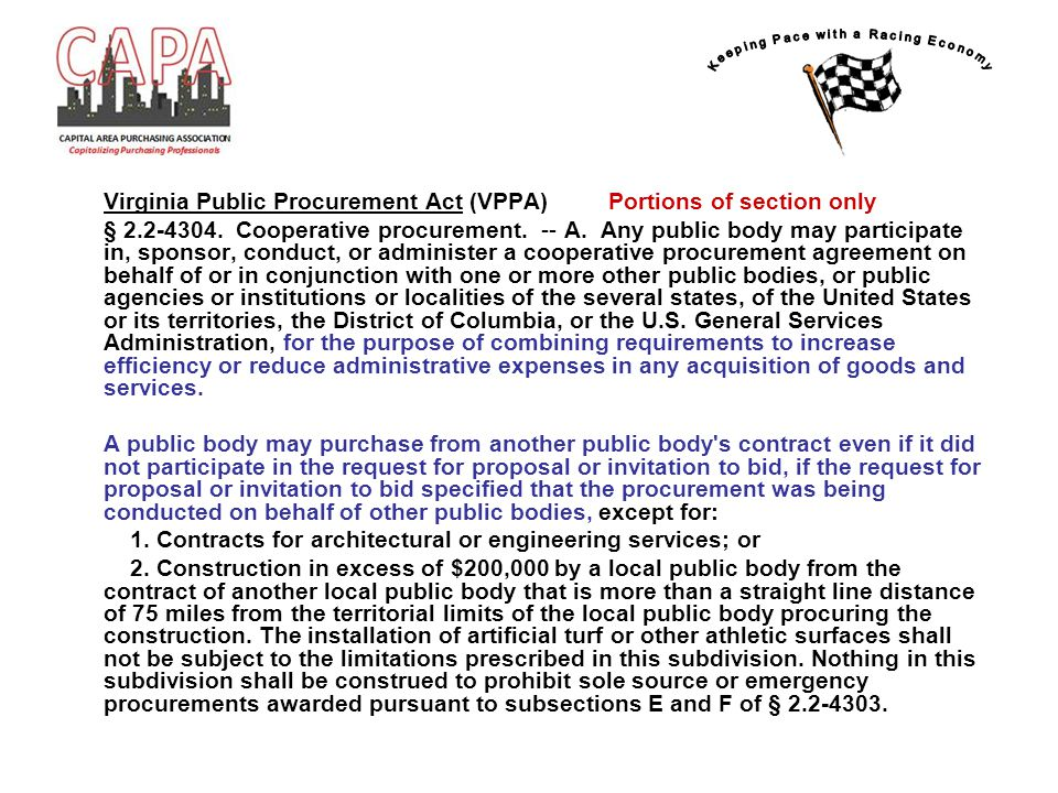 Virginia Public Procurement Act (VPPA) Portions of section only § 2.2-4304.