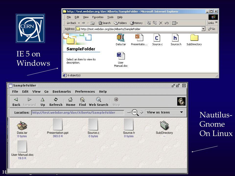 Htasc meeting, 21 February 2002 IE 5 on Windows Nautilus- Gnome On Linux