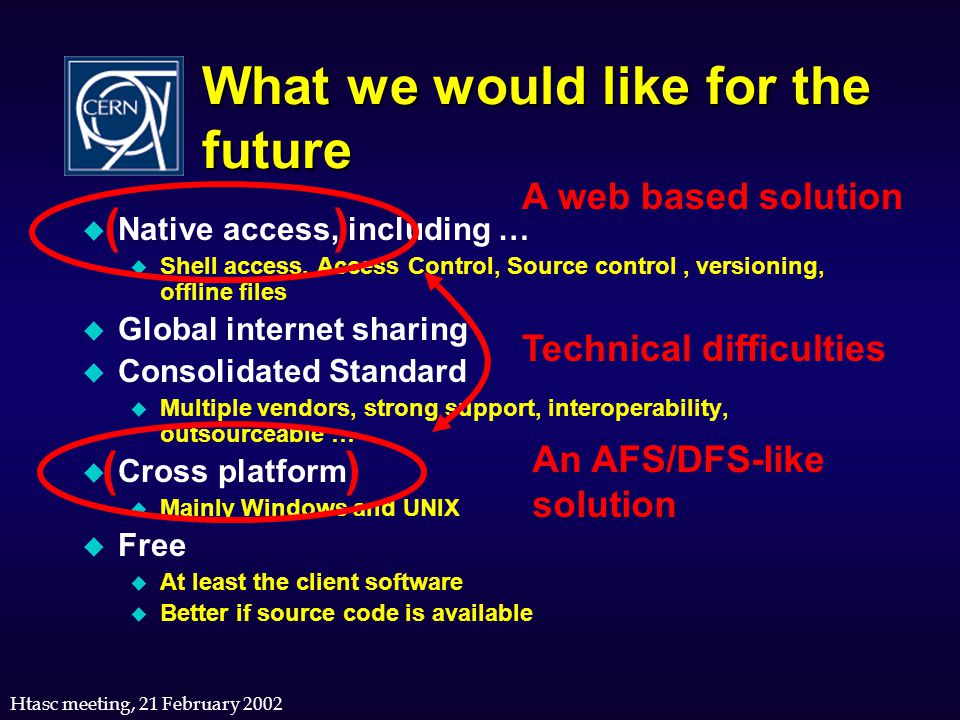 Htasc meeting, 21 February 2002 What we would like for the future u Native access, including … u Shell access, Access Control, Source control, version