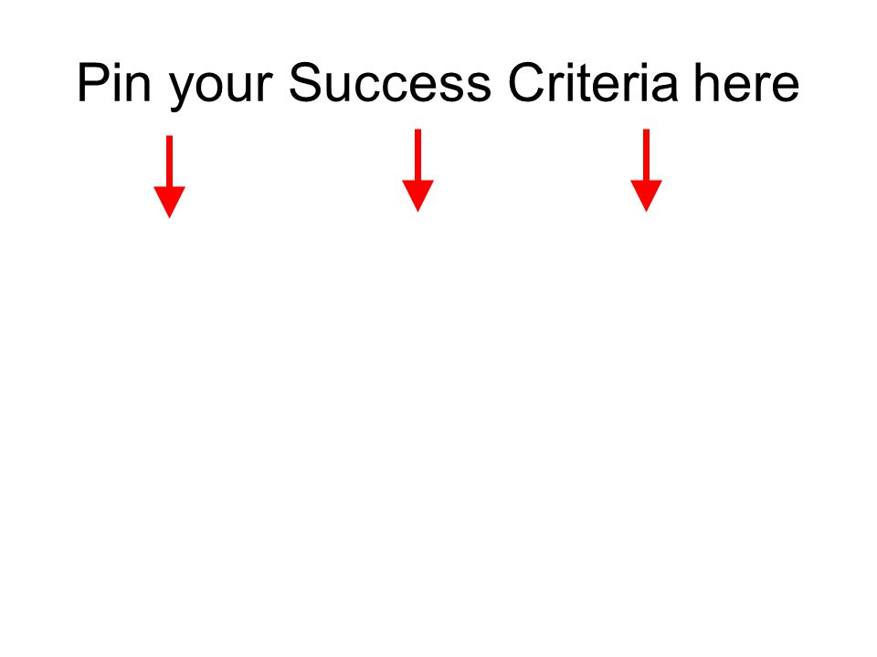 Pin your Success Criteria here