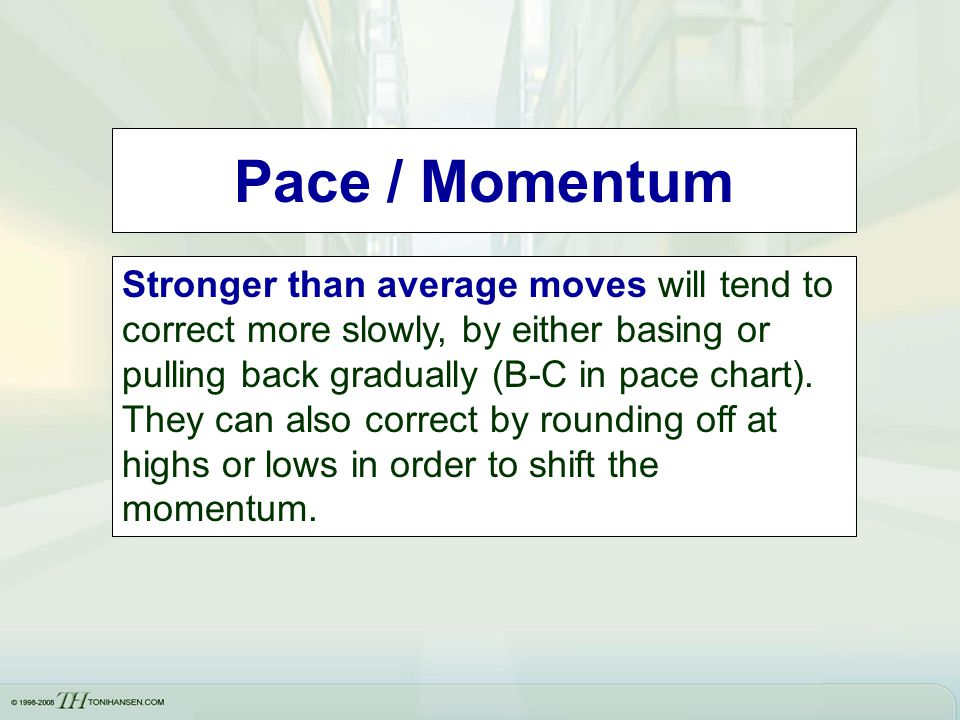 Pace / Momentum Stronger than average moves will tend to correct more slowly, by either basing or pulling back gradually (B-C in pace chart). They can