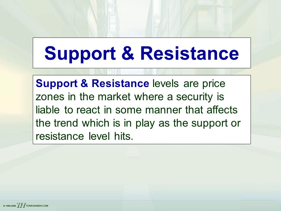 Support & Resistance Support & Resistance levels are price zones in the market where a security is liable to react in some manner that affects the tre