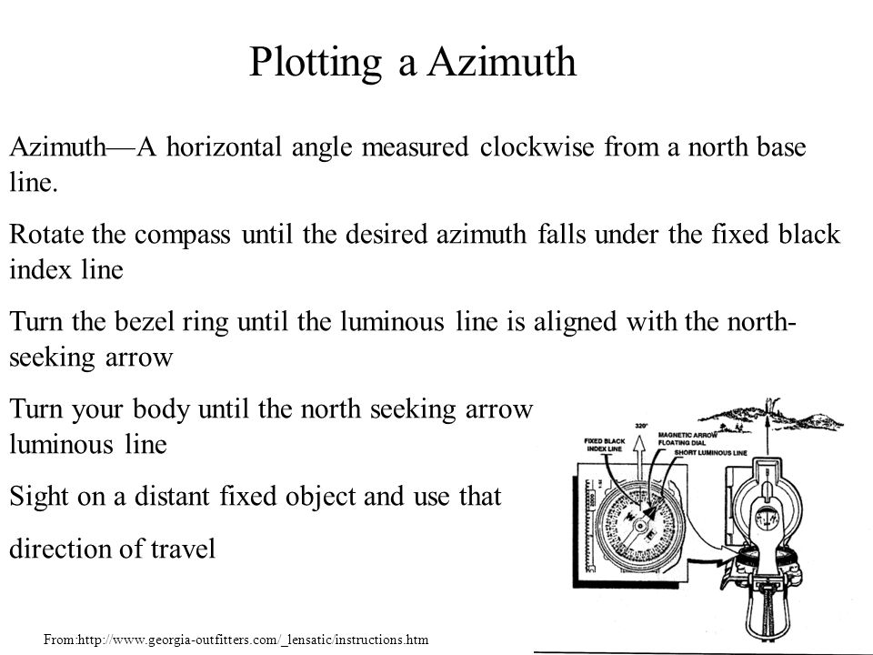 Azimuth—A horizontal angle measured clockwise from a north base line. Rotate the compass until the desired azimuth falls under the fixed black index l