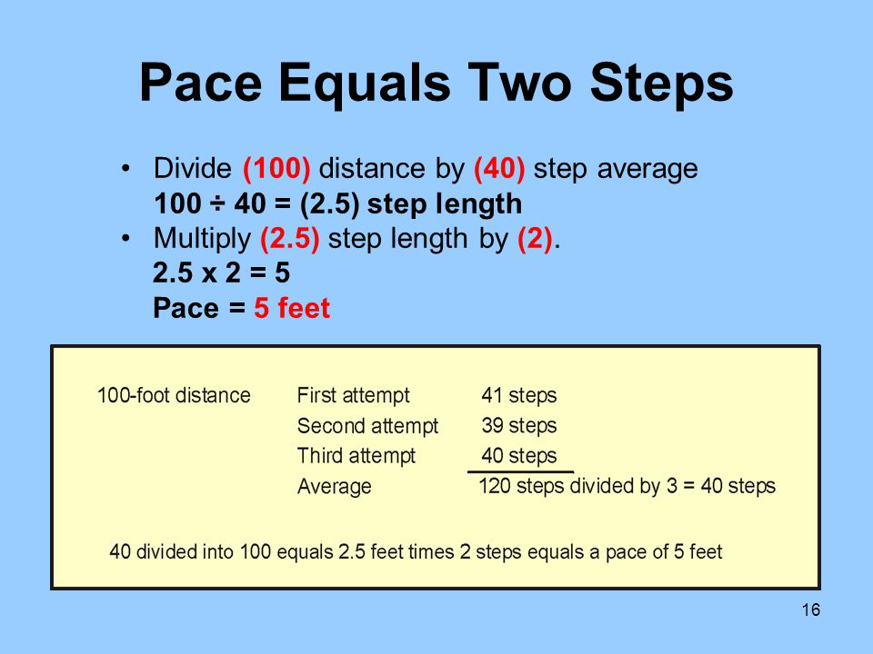 16 Pace Equals Two Steps Divide (100) distance by (40) step average 100 ÷ 40 = (2.5) step length Multiply (2.5) step length by (2). 2.5 x 2 = 5 Pace =