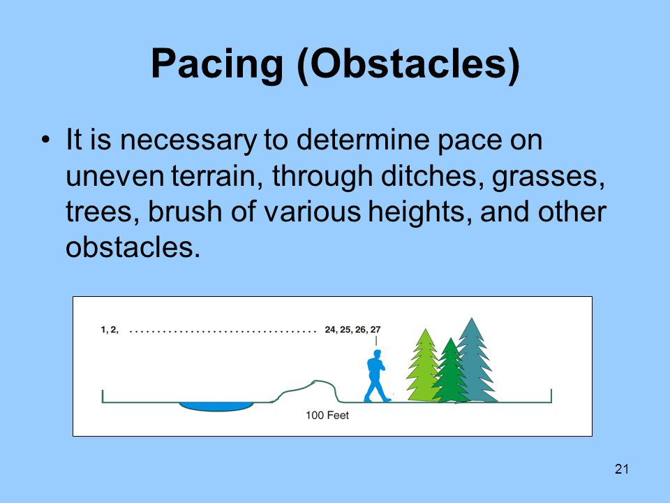 21 Pacing (Obstacles) It is necessary to determine pace on uneven terrain, through ditches, grasses, trees, brush of various heights, and other obstac