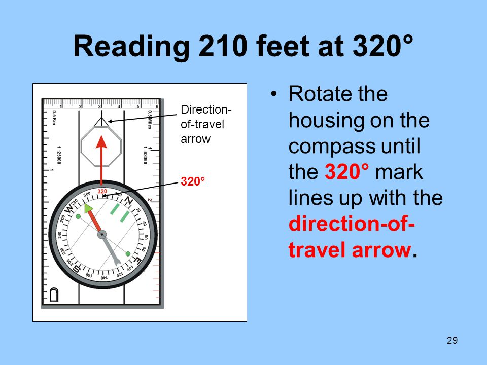 29 Reading 210 feet at 320° Rotate the housing on the compass until the 320° mark lines up with the direction-of- travel arrow. 320° Direction- of-tra