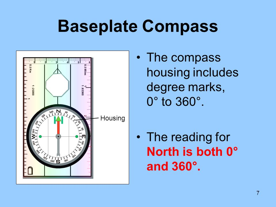 28 Compass Use Example: To find the direction-of-travel based on a compass reading of 210 feet at 320° from a specific location: