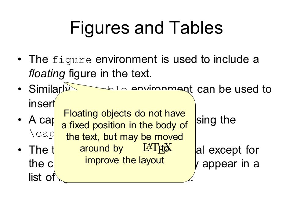 Figures and Tables The figure environment is used to include a floating figure in the text.