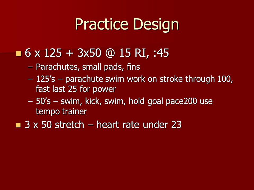 Practice Design 6 x 125 + 3x50 @ 15 RI, :45 6 x 125 + 3x50 @ 15 RI, :45 –Parachutes, small pads, fins –125's – parachute swim work on stroke through 100, fast last 25 for power –50's – swim, kick, swim, hold goal pace200 use tempo trainer 3 x 50 stretch – heart rate under 23 3 x 50 stretch – heart rate under 23