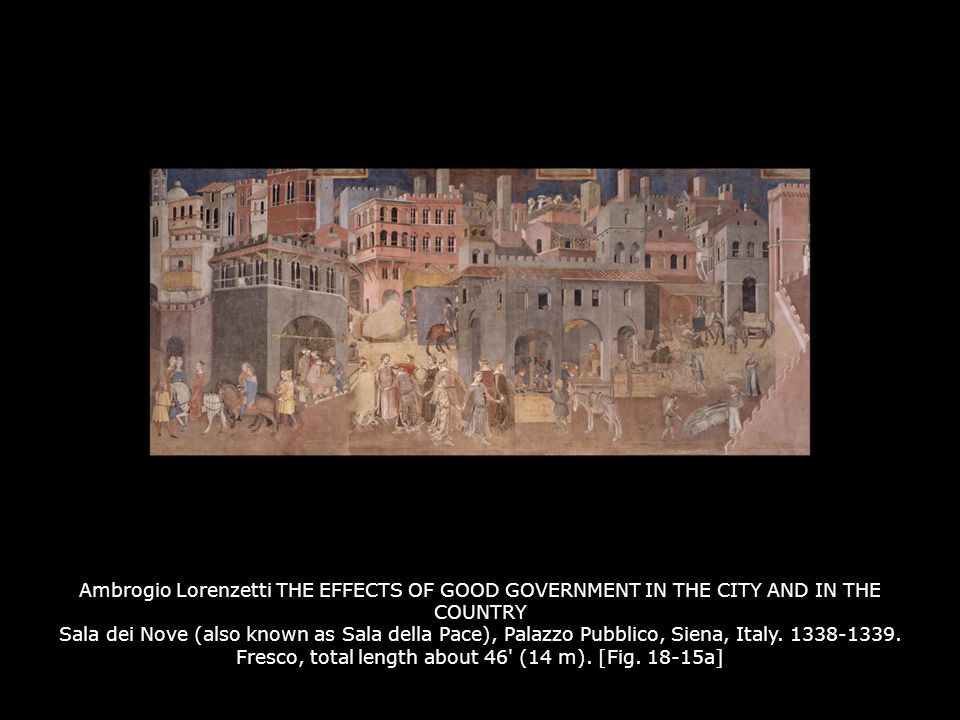 Ambrogio Lorenzetti THE EFFECTS OF GOOD GOVERNMENT IN THE CITY AND IN THE COUNTRY Sala dei Nove (also known as Sala della Pace), Palazzo Pubblico, Sie