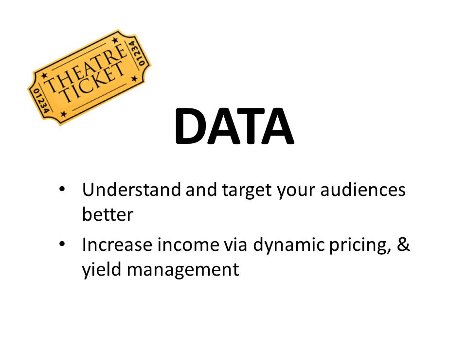 DATA Understand and target your audiences better Increase income via dynamic pricing, & yield management