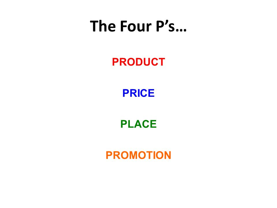 The Four P's… PRODUCT PRICE PLACE PROMOTION
